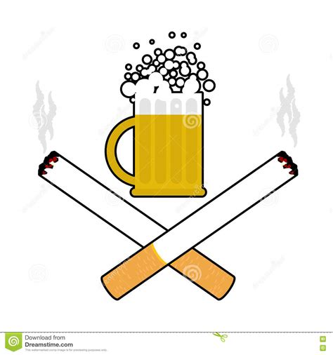 cartoon no alcohol cerveza y cigarrillos alcohol y muestra que fuma logotipo