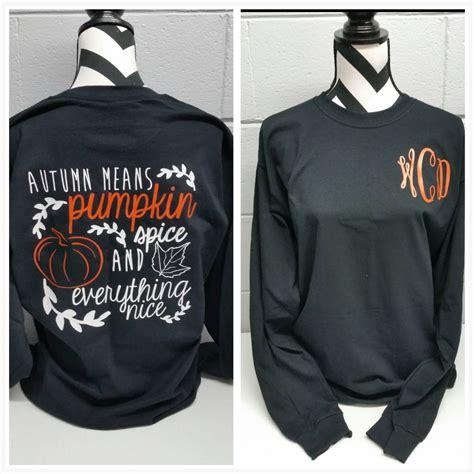 design a monogram shirt monogrammed pumpkin spice long sleeve shirt by elleqdesigns