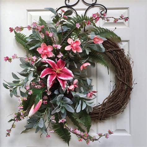 pink summer wreath   front door  flowers