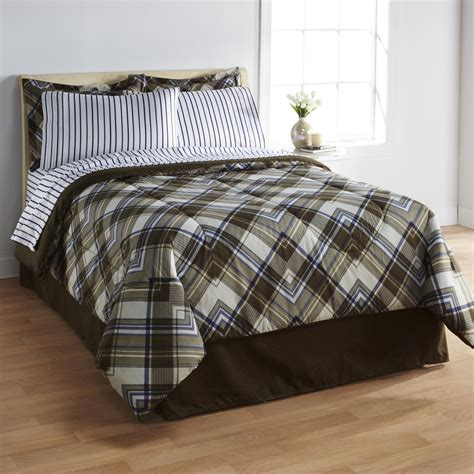 essential home complete bed set angled plaid