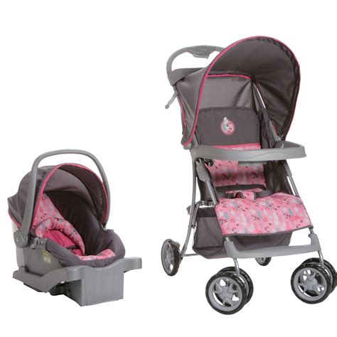 disney minnie mouse car seat and stroller this pink and gray travel system features a minnie mouse