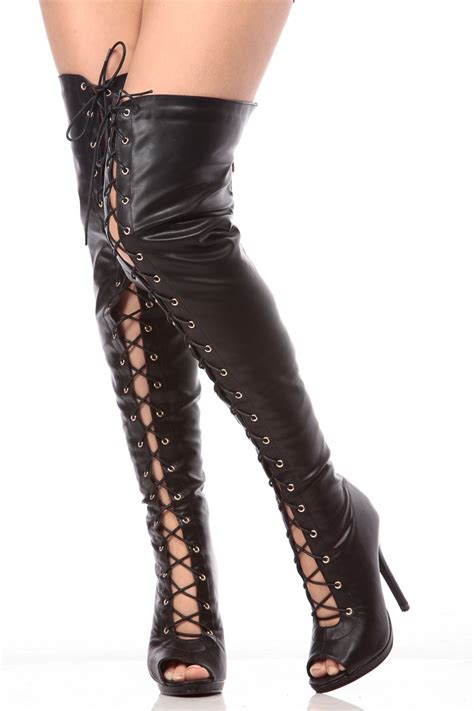 open toe thigh high boots thigh high boots open toe boot yc