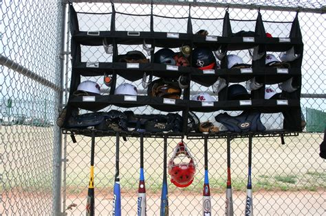 baseball dugout gear organizer bat helmet holder racks
