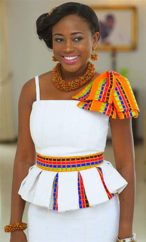 ghana african traditional outfit kente on white with statement jewerly ready for that