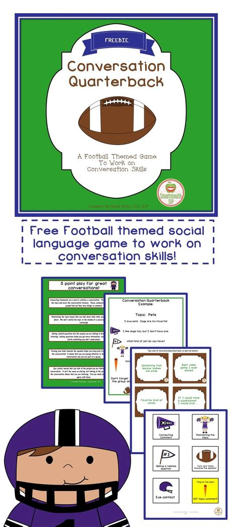 a football themed freebie to work on conversation