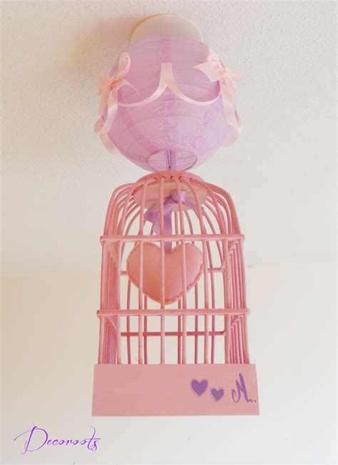 Lustre Fille by Lustre Suspension Fille Cage Quot Petit Coeur Quot Et Parme