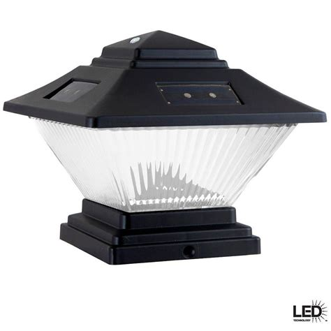 hampton bay black dual mount solar led post cap lights