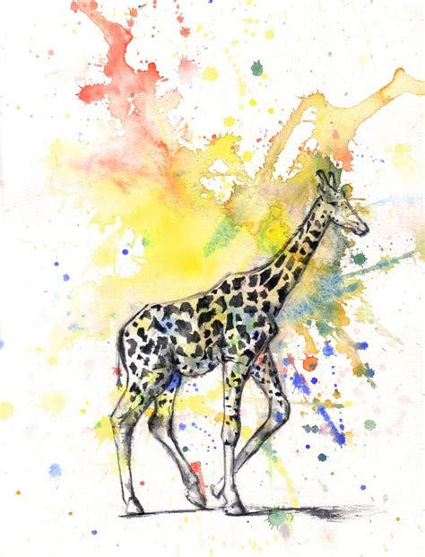 watercolor tattoos giraffe giraffe animal watercolor painting print 5 x 7 in