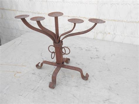 wrought iron heavy fireplace candle candelabra