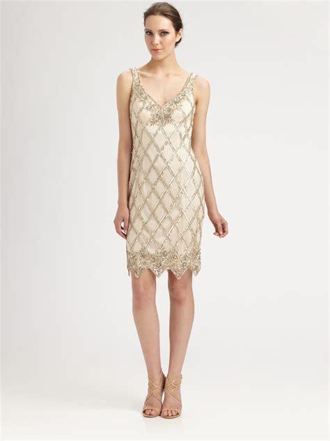 sue wong beaded dress sue wong beaded dress in beige chagne lyst