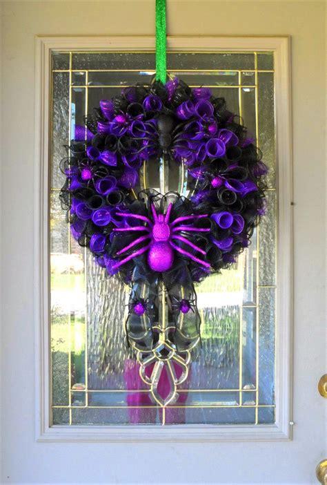 halloween wreath  front door black  purple halloween