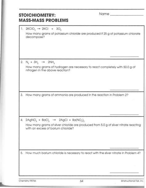 Mass Mass Problems Worksheet by Mass To Mass Stoichiometry Worksheet Lesupercoin
