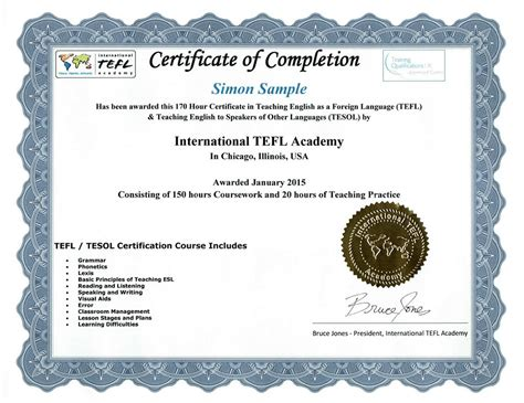 accreditation of international tefl academy courses tefl