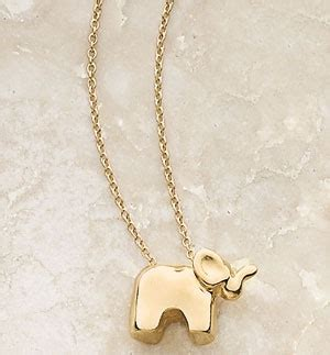 the golden 14k yellow gold baby elephant necklace