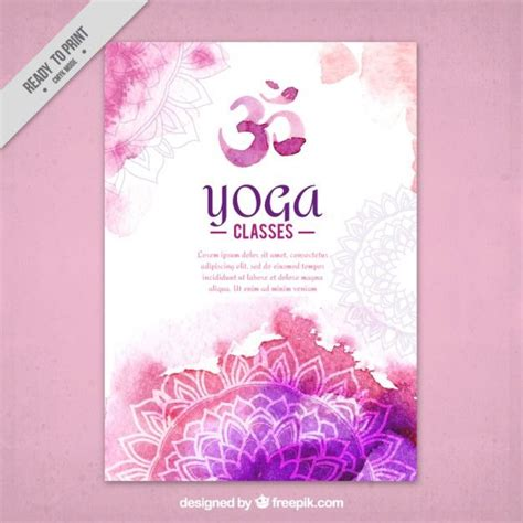mockup yoga design симпатичные акварель йога флаер с мандал premium векторы