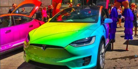 rainbow cars tesla model x rainbow paint at pride parade photos