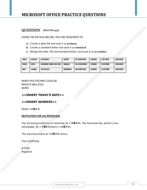 Ms Office Package Microsoft Office Package Practical Questions