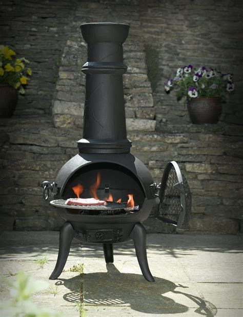 chiminea indoor fireplace black cast iron steel mix 105cm chimenea chiminea with