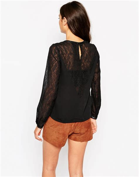 Vero Moda Sleeve Blouse by Lyst Vero Moda Blouse With Lace Sleeves In Black