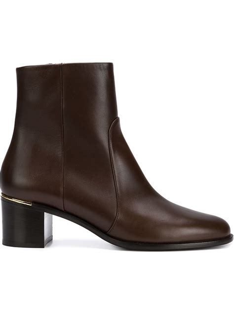 brown leather ankle boots ferragamo leather ankle boots in brown lyst