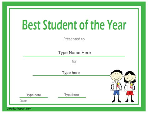 student of the year award certificate templates best