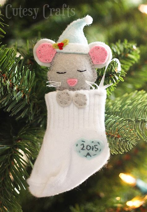 free christmas decorations to make baby sock diy ornaments cutesy crafts