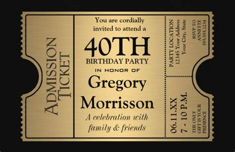 40th birthday invitation templates free 25 40th birthday invitation templates free sle