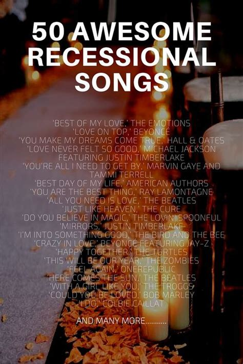 Wedding Recessional Song List by 50 Awesome Recessional Songs Recessional Songs