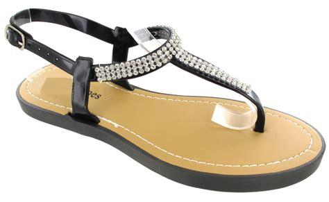 diamante flat shoes new womans flat diamante jelly flip flop summer