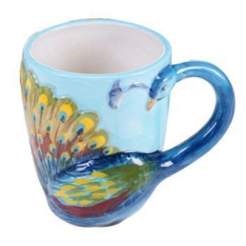 peacock mug certified international 3d peacock mug blue peacocks