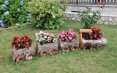 wooden log planter garden project discover best
