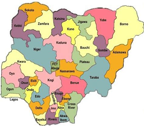 map of nigeria with states nigeria political regions map mappery