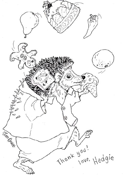 Hedgie Says Thank You Coloring Pages Jan Brett