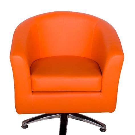 Leather Tub Chairs Designer Leather Swivel Tub Chair Orange Leather Swivel Chair