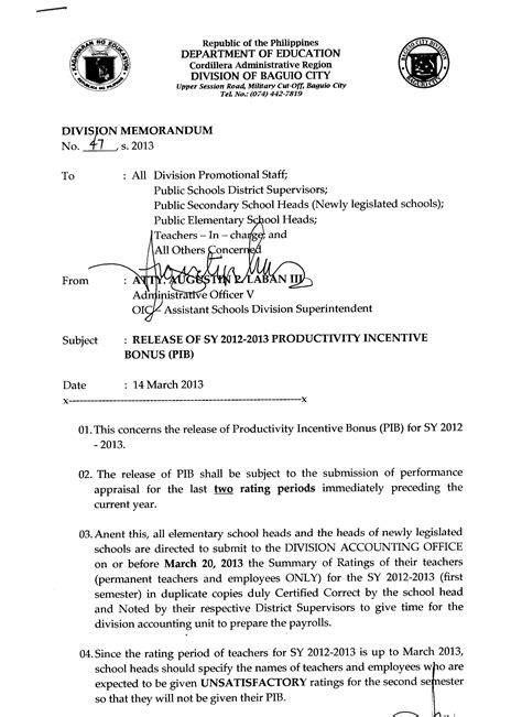 Release Bonus Letter Release Of S Y 2012 2013 Productivity Incentive Bonus Pib Deped Baguio City Depedpines