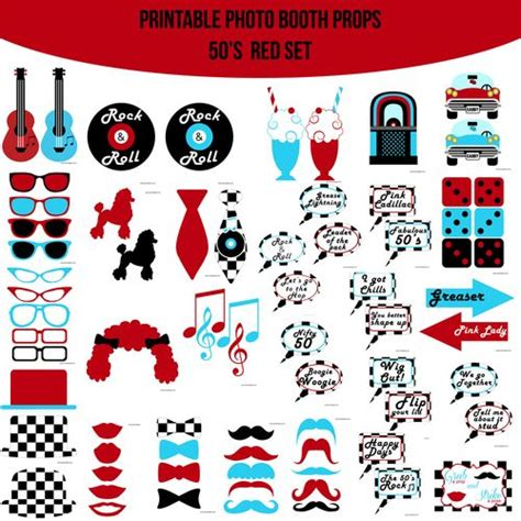 free printable movie themed photo booth props amanda keyt diy photo booth props more 50 s grease