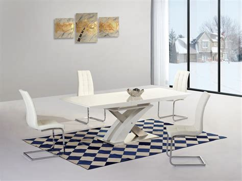 white extending gloss dining table and 4 chairs homegenies