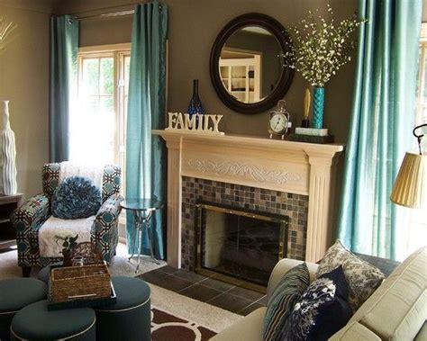 contemporary teal living room accessories like curtains also classic fireplace design with