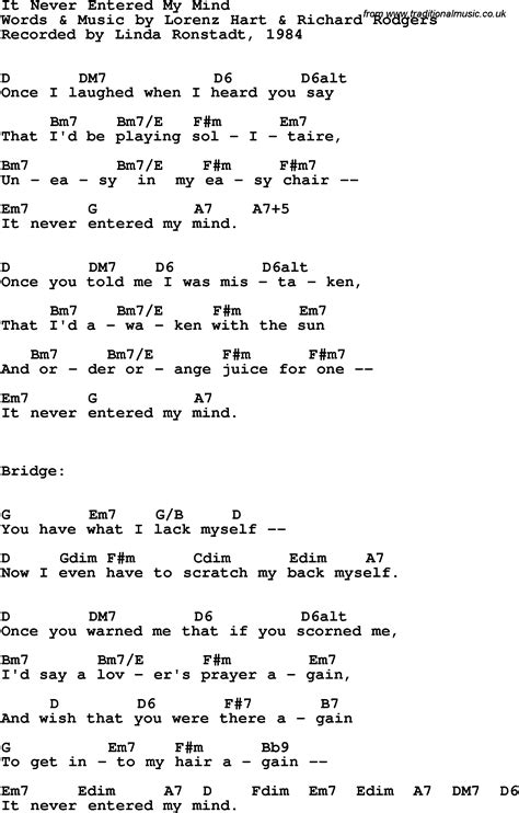 my lyrics ronstadt song lyrics with guitar chords for it never entered my