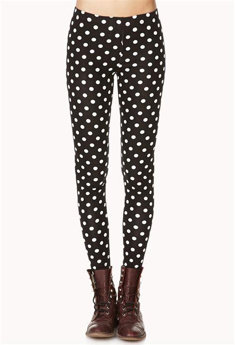 Legging Polkadot White forever 21 polka dot in black black white lyst