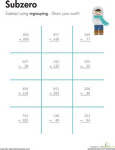 subzero three digit subtraction with regrouping
