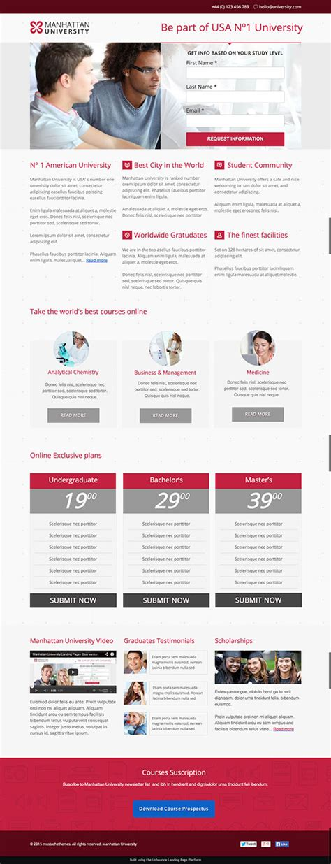 12 Beautiful Landing Page Templates Designed Just For You Education Landing Page Templates Free