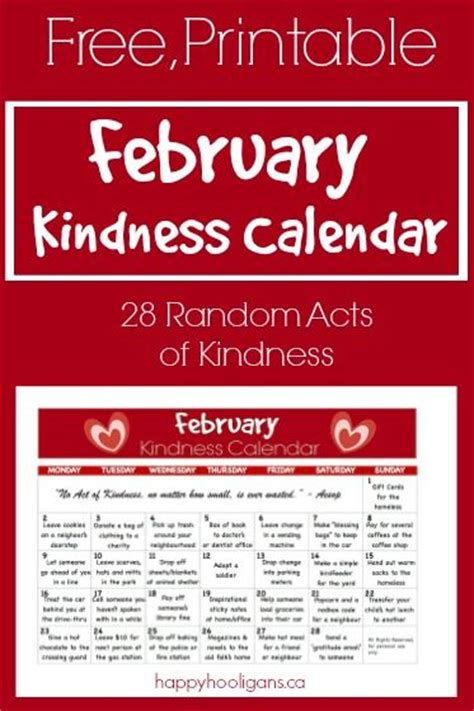 printable kindness calendar acts of kindness random acts and calendar on pinterest