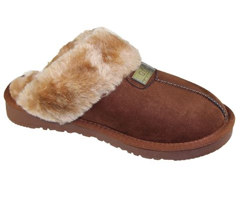 rubber soled slippers womens fur lined slippers mules non slip rubber