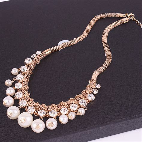 Necklace Korea Pearl Sturt 1714 south korea jewelry pearl necklace tassel knitted beaded necklace of clavicle in