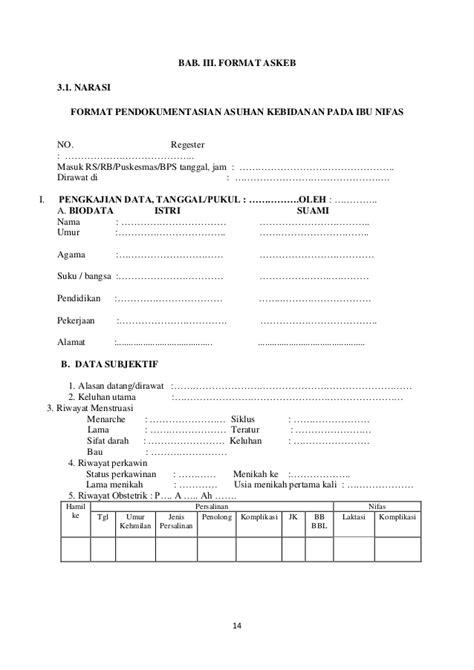 format resume asuhan keperawatan format dan asuhan kebidanan pada ibu nifas