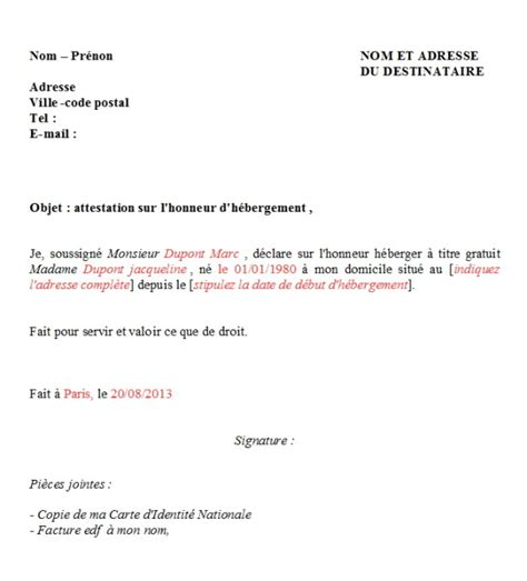 modele lettre hebergement parents
