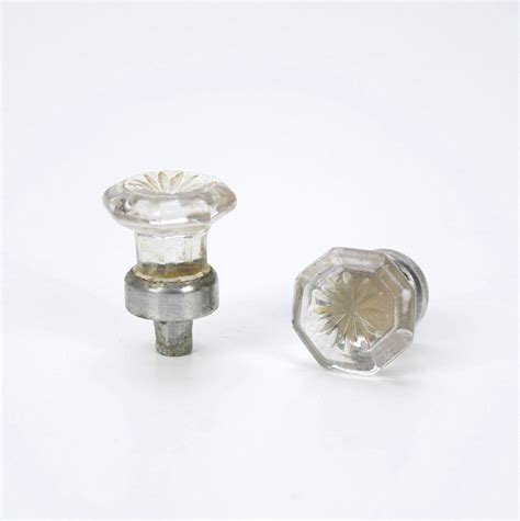 antique octagonal cut glass cabinet knobs by