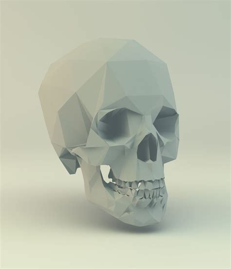 paper craft skull low poly skull paper craft 3d low poly 3d