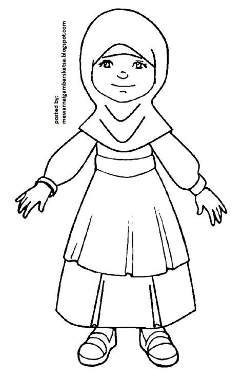 contoh gambar mewarnai baju muslim anak kataucap